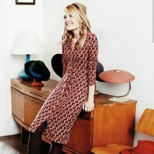 Boden Carnaby Retro Print Long Sleeve Shirt Dress